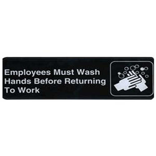 "UPDATE S39-25BK Employees Must Wash Hands Sign 3"" x 9"" Black"