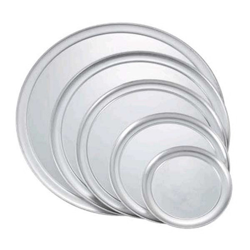 "WINCO APZT-10 10"" Aluminum Pizza Trays Wide Rim"