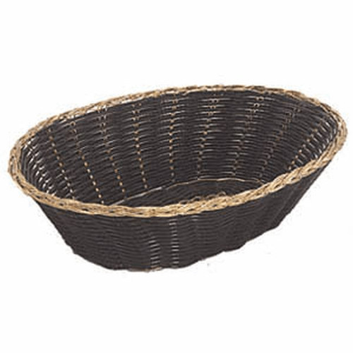"UPDATE BBV-97 9"" x 6.5"" Oval Black Woven Basket"