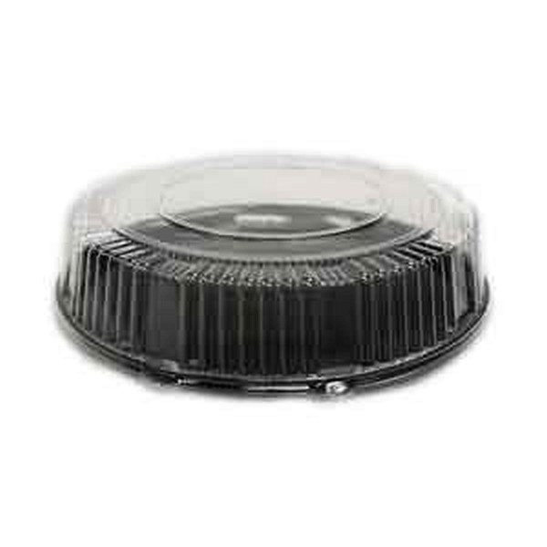 """CheckMate A916BLPET Serving Tray 16"""" Black Round With Dome Lid"""