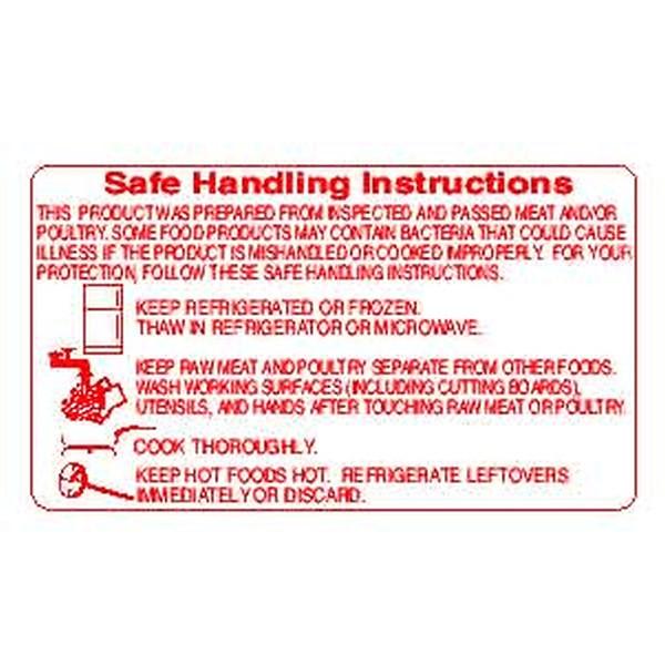 """""""SAFE HANDLING"""" Sticker Label Red Print"""