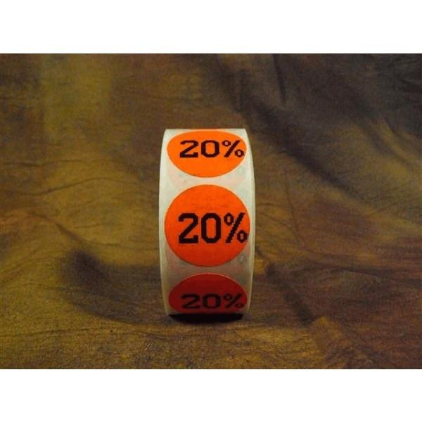 20% Round Label Sticker - Red