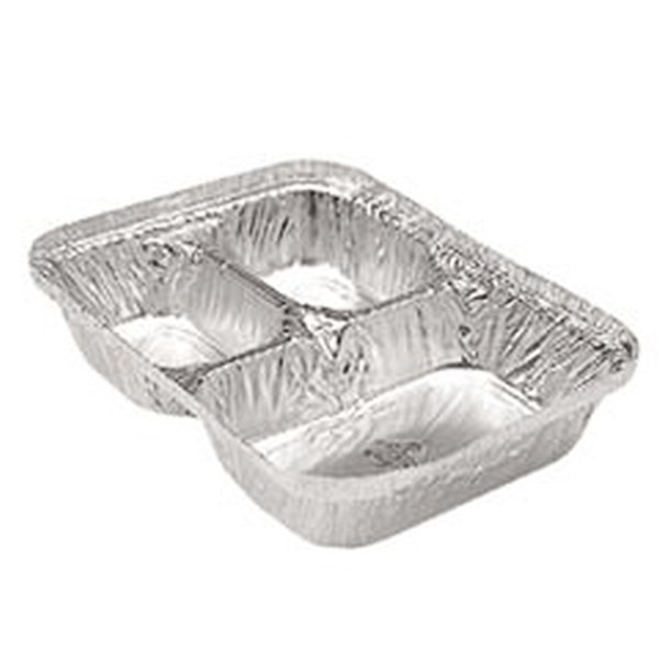 Durable Packaging 210-35-P250 3 Compartment Oblong Take-Out Foil Container With Clear Dome Lid, 250 Combo Pack