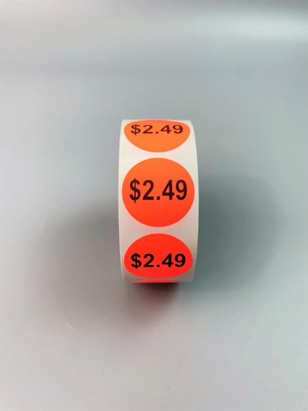 $2.49 Round Label Sticker - Red