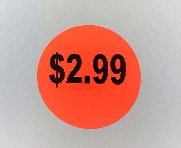 $2.99 Round Label Sticker - Red