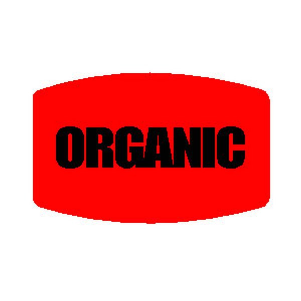 """""""ORGANIC"""" Printed Red Dayglo Label"""