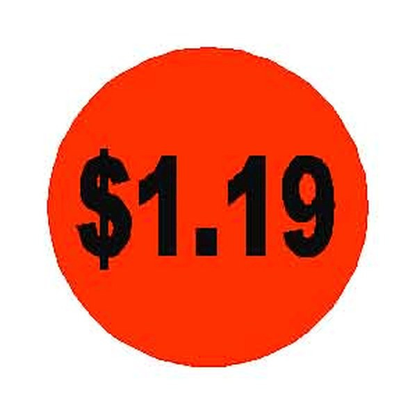 $1.19 Round Label Sticker - Orange
