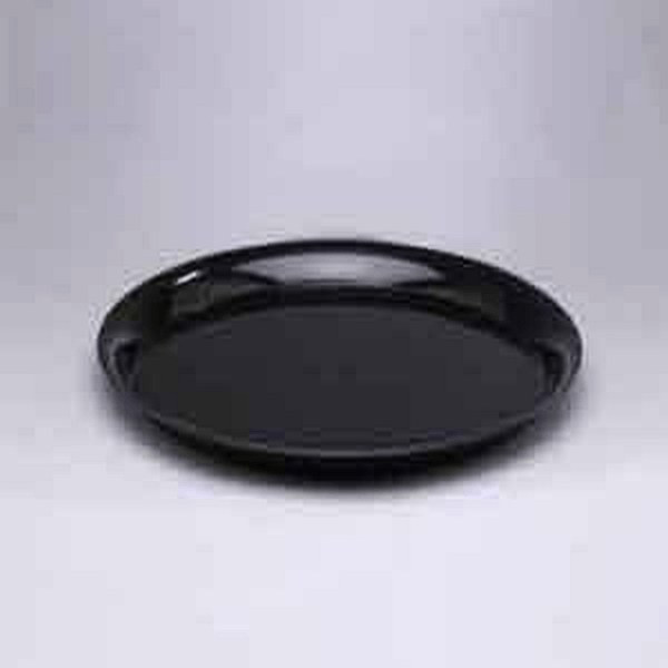 """CheckMate A912BL25 Serving Tray 12"""" Black Round With High Edge"""