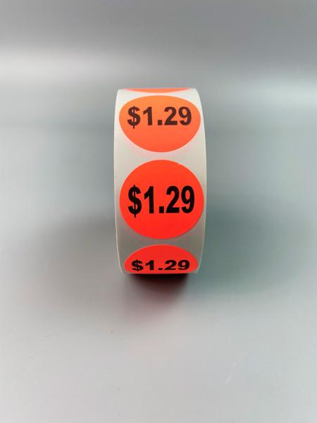 $1.29 Round Label Sticker - Red