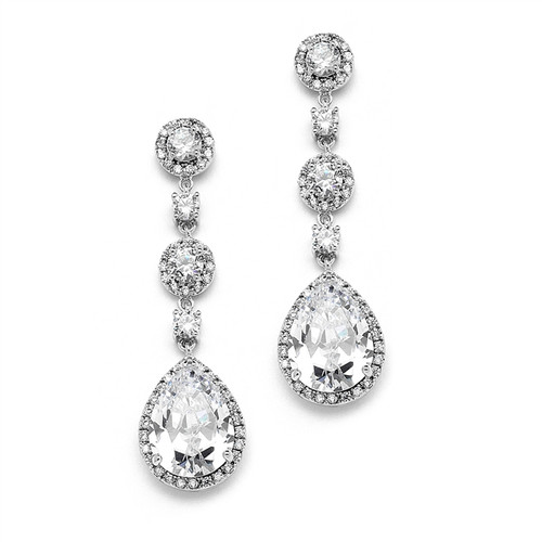Pear Shaped Drop Bridal Earrings with Pave Cubic Zirconium