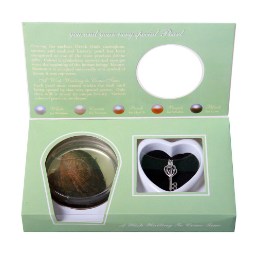 Pearl-in-Oyster Gift Set w/ Necklace and Key Pendant