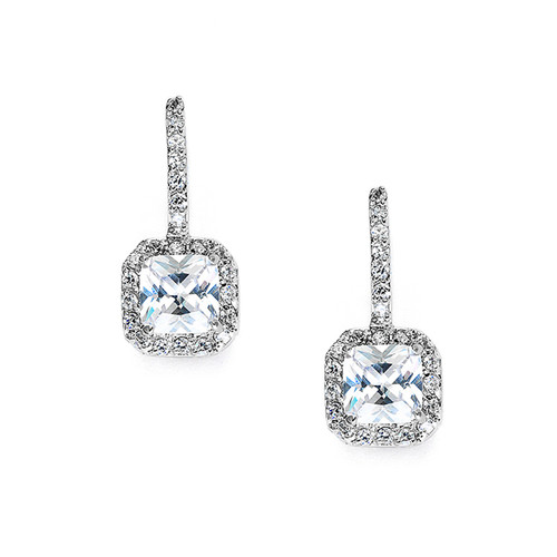 Radiant Cut CZ Bridal/Prom Drop Earrings Jewelry