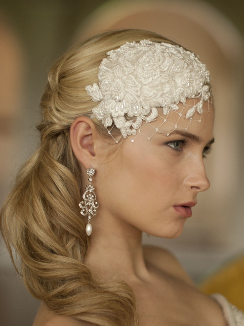 lace and silk bridal hat