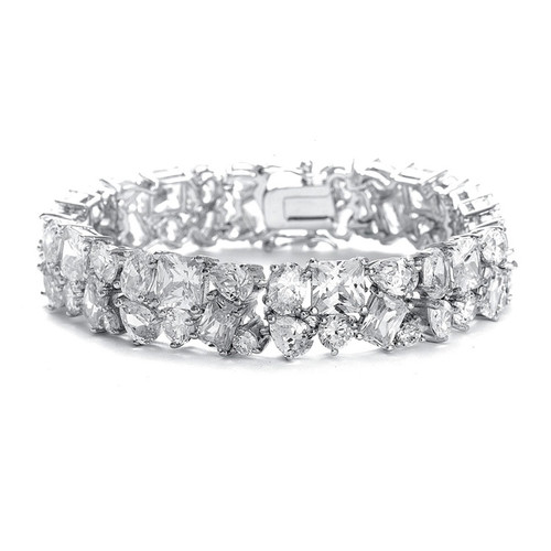 Silver Bridal Bracelet in Multi Shaped CZ Stones