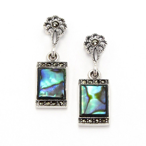 Abalone & Marcasite Earrings Jewelry