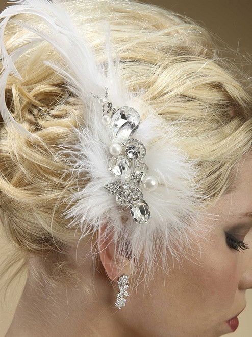 Swarovski Crystal and Pearl Feather Fascinator Bridal Headpiece