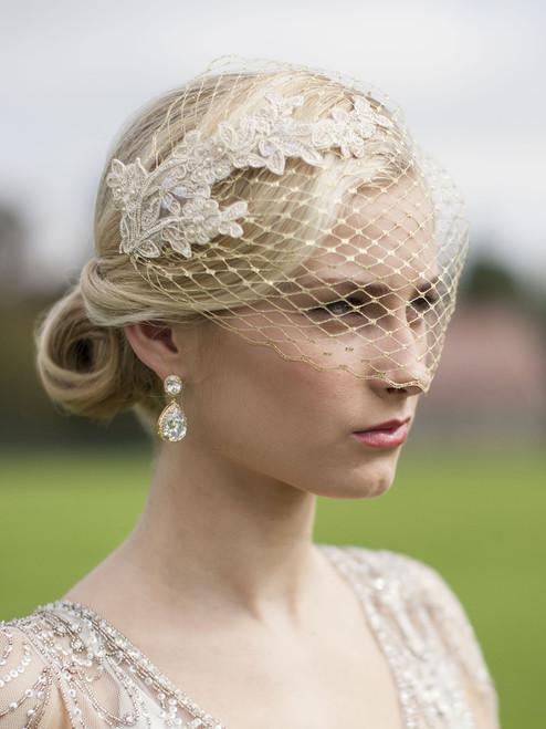 Wedding Birdcage Bridal Veil w/ Champagne Lace Appliques