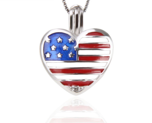 Sterling Silver Pearl in Oyster Set w/ American Flag Heart Pendant