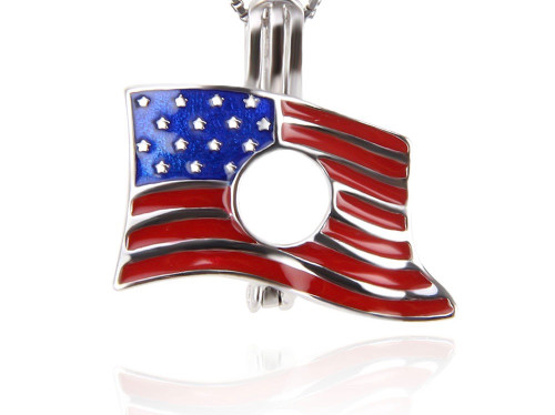 Sterling Silver Pearl in Oyster Pendant Set w/American Flag Pendant