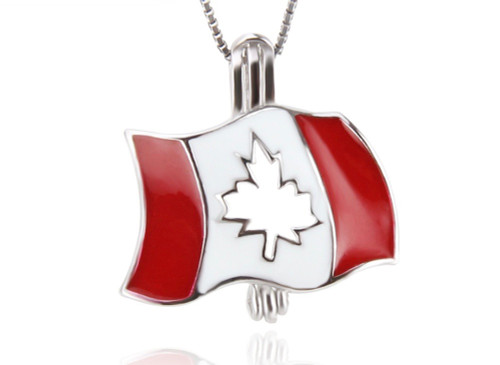Sterling Silver Pearl in Oyster Necklace Set w/Canadian Flag Pendant