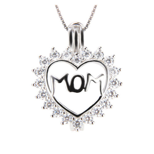 Mom CZ Heart Pendant