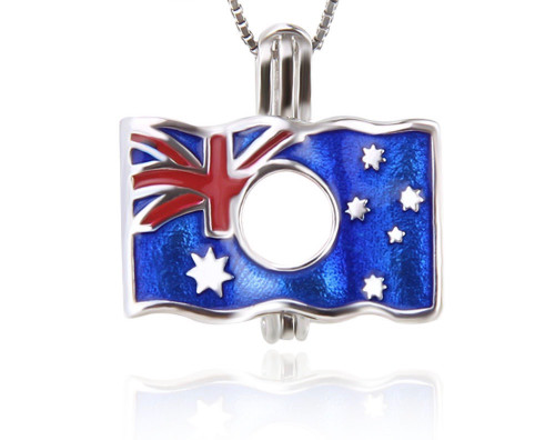 Pearl in Oyster Necklace Set w/Australian Flag Pendant