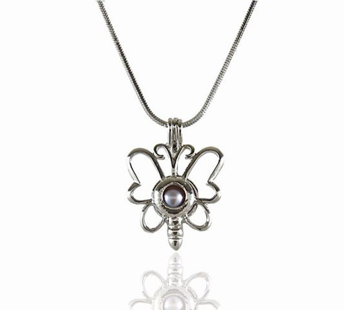 Pearl in Oyster Necklace Set w/Butterfly Pendant