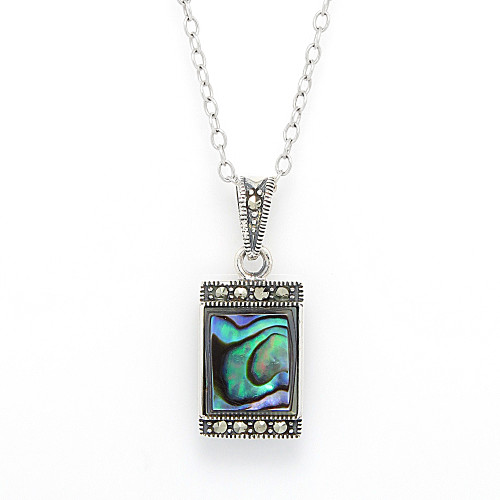 Abalone Pendant w/Marcasite Crystal Embellishments