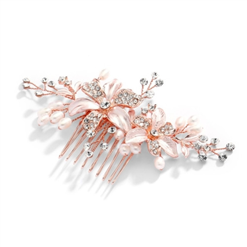 Bridal Comb in Rosegold w/Freshwater Pearl & Crystal Accents