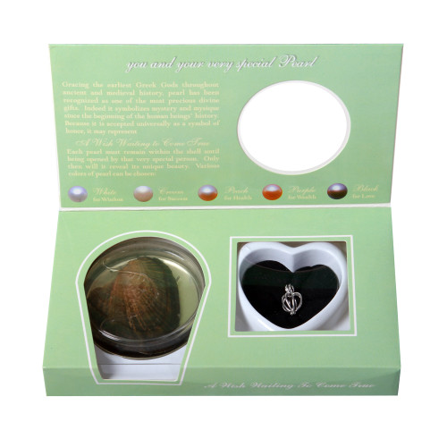 Pearl in Oyster Gift Set w/Sterling Silver Heart Pendant