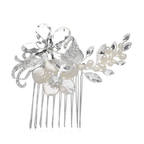 Pearl and crystal bridal comb accessory