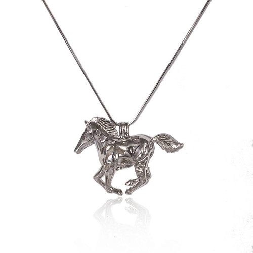 Pearl in Oyster Gift Set w/Sterling Silver Horse Pendant