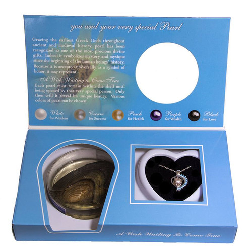 Pearl in Oyster Birthstone Gift Set w/Sterling Silver March CZ Pendant