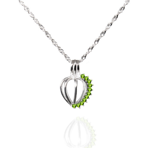 Pearl in Oyster Birthstone Gift Set w/Sterling Silver August CZ Pendant