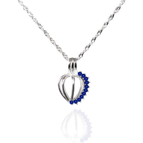 September birthstone cage pendant