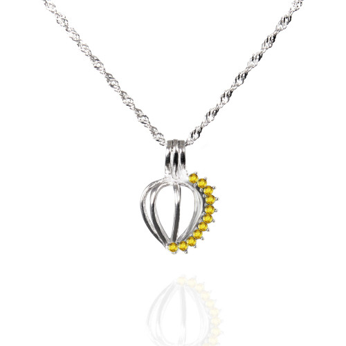 Pearl in Oyster Birthstone Gift Set w/Sterling Silver November CZ Pendant