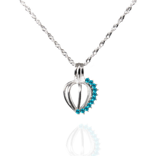 Pearl in Oyster Birthstone Gift Set w/Sterling Silver December Pendant