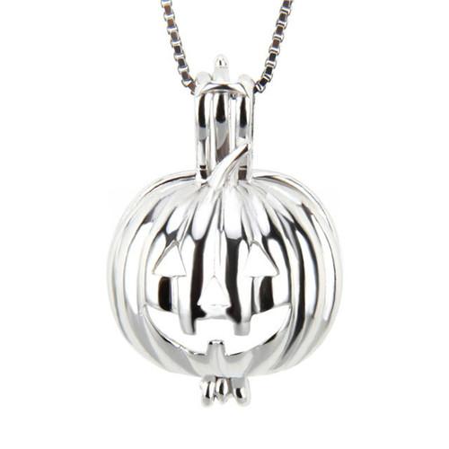 Pearl in Oyster Gift Set w/Sterling Silver Pumpkin Pendant