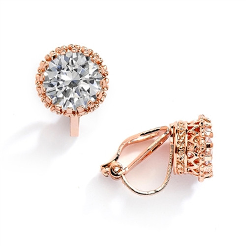 Rose Gold Clip-On Earrings in Round CZ Solitaire