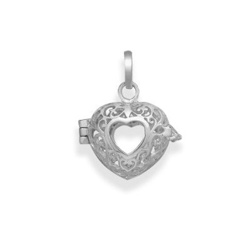 Pearl in Oyster Necklace Set w/Sterling Hollow Heart Pendant
