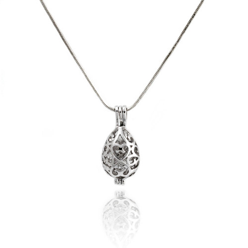 Pearl in Oyster Gift Set w/Heart Drop Pendant Locket