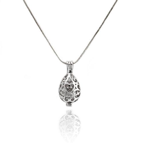 Pearl in Oyster Gift Set w/Heart Drop Pendant Locket