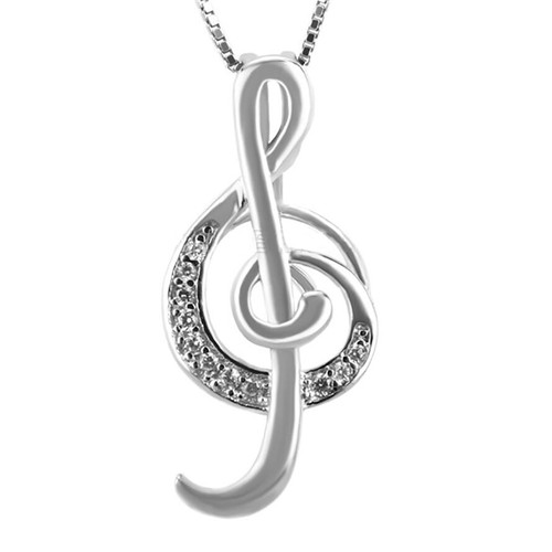 Pearl in Oyster Gift Set w/Sterling Silver Treble Clef Pendant