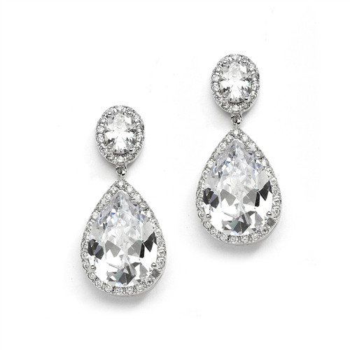 Bridal Drop Earrings Jewelry w/Pear Shaped Cubic Zirconia