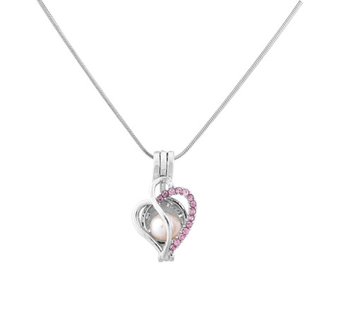 Pearl in Oyster Necklace Set w/Heart & CZ Stones Pendant