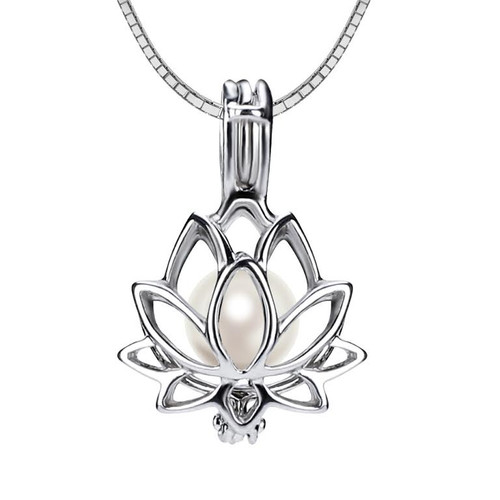 Lotus cage pendant with pearl
