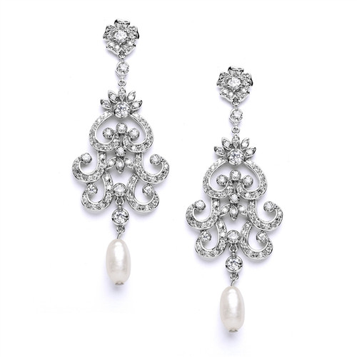 Bridal Pearl & CZ  Earrings in Chandelier Design