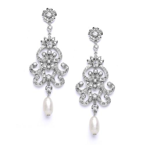 Bridal Pearl & CZ  Earrings in Chandelier Design