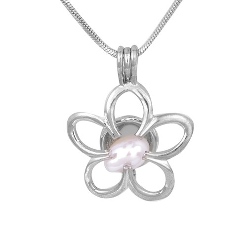 Pearl in Oyster Gift Set w/Daisy Floral Pendant Set