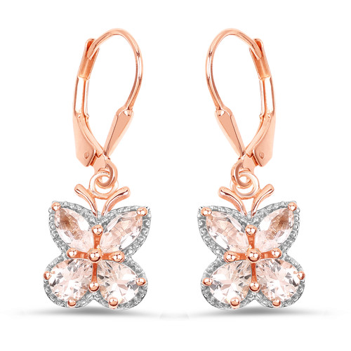 Morganite and rose gold sterling silver butterfly earrings